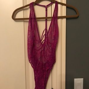 VS fuchsia pink lace bodysuit